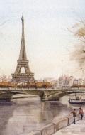 320x480 эйфелева башня, рисунок, Париж, франция, река, город обои для рабочего стола скачать бесплатно с номером...
