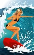 Векторный сток: девушки на пляже в бикини 12 шт cdr + jpg 19 mb.